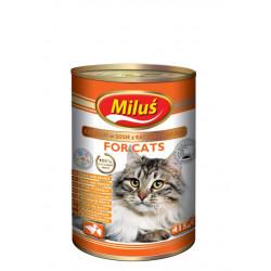 MILUŚ Mokra karma dla kota kaczka z sercami 415g