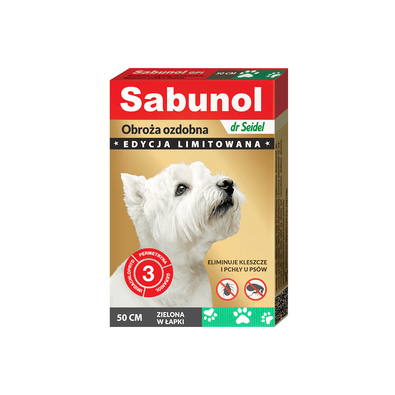 SABUNOL obroża ozdobna zielona w łapki