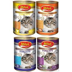 MILUŚ Mokra karma dla kota MIX smaków 10x415g