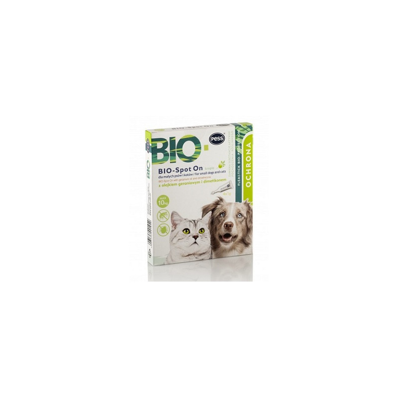 PESS BIO Spot On kropelki z olejkami naturalnymi małe koty i psy 4x1g